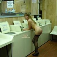 Nude Girl At Laundrymat - Round Ass, Stockings