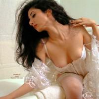 White Lingerie - Black Hair, Stockings, Sexy Lingerie