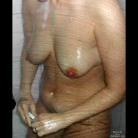 Wife Under Shower And Shaving