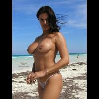 Topless Girl - Black Hair, Standing, Topless Girl, Beach Voyeur