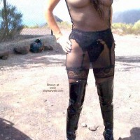 Fishnet Dress, Stockings and Boots in Public