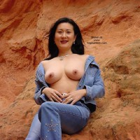 Topless Girl In The Desert - Asian Girl, Black Hair, Flashing Tits, Showing Tits, Topless Outdoors