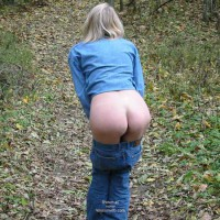 Blue Jeans Pulled Down - Bend Over