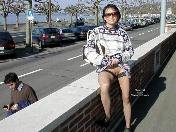 Pic #1 - Flashing On A City Street - Sweater , Flashing On A City Street, Pussy Eip, Bald Pussy In Public On Wall, Short Haired Girl With Skirt Pulled Up, Sweater, Black Fishnet Stockings