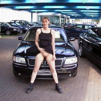 Flashing At A Dealership - Black Dress, Boots, Exposed In Public