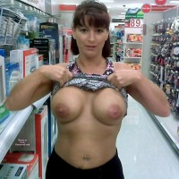Wife Flashing Boobs At The Pharmacy - Big Tits, Flashing Tits, Flashing, Topless, Hot Wife, Sexy Boobs