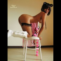 Kneeling Asian On Chair WFI With Hangers - Brown Hair, Doggy Style, Hanging Tits, Round Ass, Naked Girl, Nude Amateur