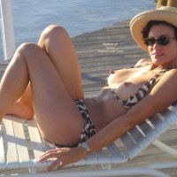 Topless On Beach Chair - Erect Nipples, Perky Nipples, Topless Outdoors