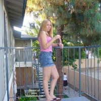 Young Hot Tight Juicy Girl On The Balcony