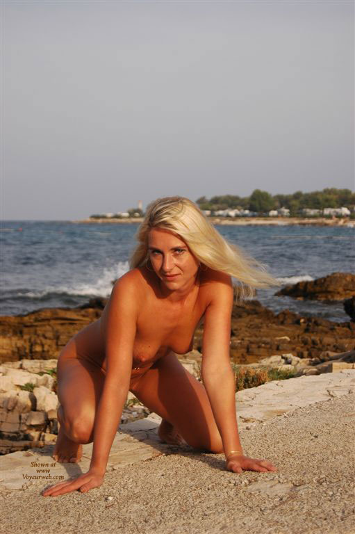 Pic #1 - Nude Crouching On Rock - Blonde Hair, Nude Outdoors, Small Tits, Naked Girl, Nude Amateur , Silky Blonde Hair, Small Tits With Conical Nipples, Nude Blonde At The Beach, Wfi, Kneeling, On All Fours, Outdoor Doggy, Nude On The Beach