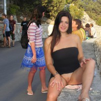 Exposed Pussy In Public - Dark Hair, Exhibitionist, Flashing, Long Hair, Hairless Pussy, Pussy Flash