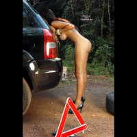 Naked Girl Changing Flat In Forest - Big Tits, Black Hair, Brown Hair, Hanging Tits, Long Hair, Long Legs