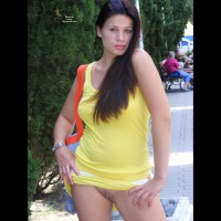 Bare Pussy In Public - Blue Eyes, Exhibitionist, Long Hair, Shaved Pussy, Hairless Pussy