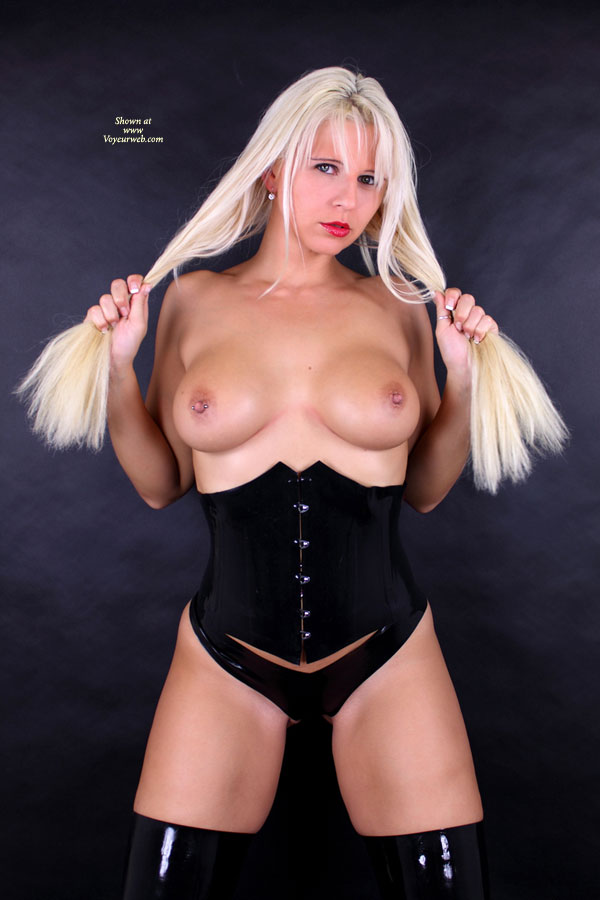 Pic #1 - White Blonde With Pierced Tits - Big Tits, Blonde Hair, Long Hair, Pierced Nipples, Topless , Standing With Leather Outfit, Pierced Right Nipple, Topless White Blonde, Sexy Corset, Black Leather Corset, Panties & Boots, Breasts On Display, Blonde Pulling Her Hair, Blonde With Big Tits, Studio Shot, Striking Topless Blonde, Pull Nipples Next, Holding Hair With Hands, Pinned Nipple