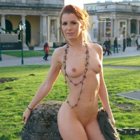 Nude In Public - Exhibitionist, Nude In Public, Pale Skin, Red Hair, Small Breasts, Bald Pussy, Naked Girl, Nude Amateur