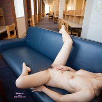 Spread-eagled In Public Library - Black Hair, Nude In Public, Pale Skin, Pubic Hair, Naked Girl, Nude Amateur, Spread Eagle