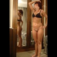 Bottomless Girl In Front Of Mirror - Bottomless, Bra, Mirror Shot, No Panties, Tan Lines