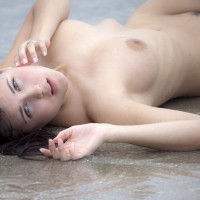 Hot Brunette On The Beach - Black Hair, Brunette Hair, Landing Strip, Pale Skin, Trimmed Pussy, Naked Girl, Nude Amateur, Sexy Face