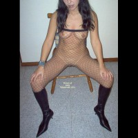 Kim In Black Stockings And Boots!