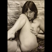 Nude Girl Against A Stone Wall - Hairy Bush, Shaved Pussy, Naked Girl, Nude Amateur