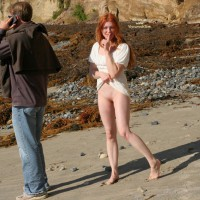 Standing Redhead Flashing Shaved Pussy - Flashing, Long Hair, Red Hair, Shaved Pussy, Looking At The Camera, Pussy Flash