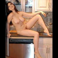 Nude Counter Girl - Hairy Bush, Pierced Nipples, Naked Girl, Nude Amateur, Nude Wife