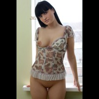 Sexy Girl One Breast Exposed - Black Hair, Dark Hair, Long Hair, Shaved Pussy, Bald Pussy