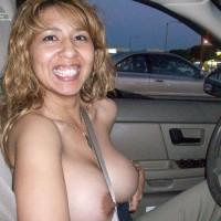 Driving Car Topless - Big Tits, Erect Nipples, Flashing, Hard Nipple, Huge Tits, Topless