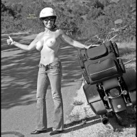 Topless Wife With Motorbike - Big Tits, Huge Tits, Milf, Topless, Topless Wife