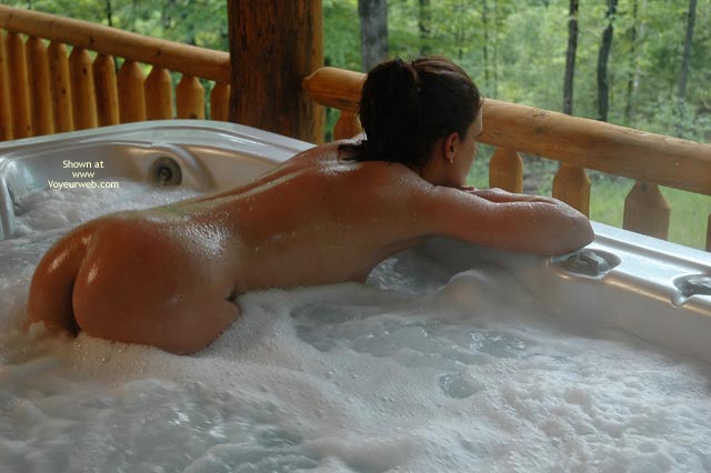 Pic #1 - Bubbles And Butt , Bubbles And Butt, What A View, Bubble Bath, Bubble Butt, Hot Tub Butt, Bent Over In Hot Tub On Outdoor Deck