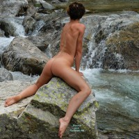 Nude Girl On A Rock - Brunette Hair, Dark Hair, Tan Lines, Naked Girl, Nude Amateur, Nude Wife, Sexy Figure