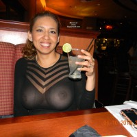 Breast Exposed Through Shear Top - Flashing, Milf
