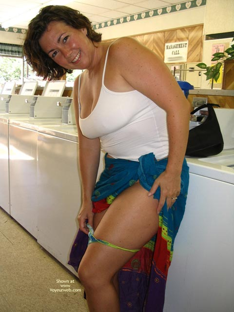 Pic #1 - Public - Exposed In Public, Flashing, Nude In Public , Public, Undressing At The Laundromat, Thong Removal, Naughty In Public, Laundry Flash, Multi Coloured Skirt