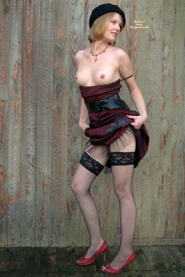 Pic #1 - Wife Posing Topless Lifting Dress - Black Hair, Erect Nipples, Heels, Perfect Tits, Red Hair, Stockings, Topless , Hands At Hips, Looking Away, Red High Heels, Black Hat, Fish-net Stockings, Dress Pulled Up, Dress Lifted