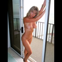 Nude Wife Standing In Balcony Door - Big Tits, Blonde Hair, Blue Eyes, Milf, Topless, Hot Wife, Naked Wife, Nude Amateur, Nude Wife