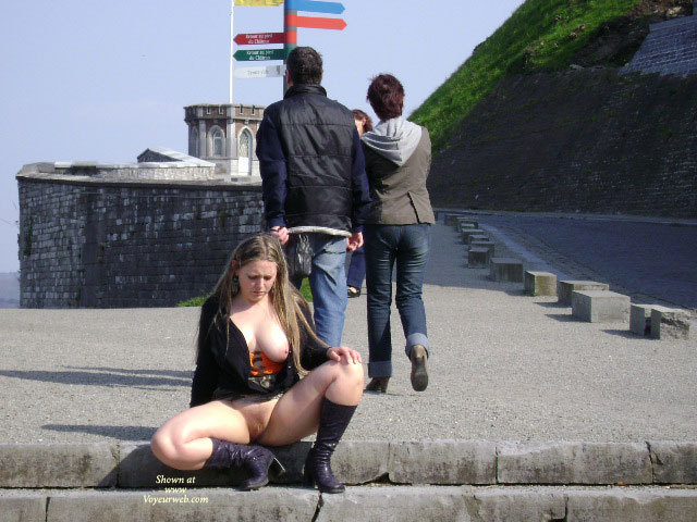 Pic #1 - Flashing Tits And Fanny - Big Tits, Flashing, Natural Tits, Shaved Pussy , People Nearby, No Panties, Black Jacket Unzipped, Black Knee Boots, Flashing In Public, Block Boots, Big Natural Tits, European Sightseeing, Orange Corset