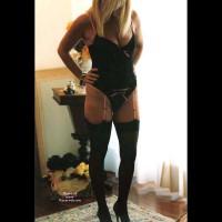 Blonde At 50 In Black Lingerie