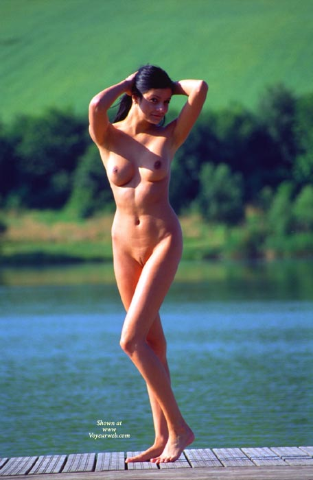 Pic #1 - Standing Nude On Pier Pulling Hair Back With Both Hands - Black Hair, Brunette Hair, Landing Strip, Long Hair, Long Legs, Perfect Tits, Shaved Pussy, Naked Wife, Nude Amateur, Nude Wife , Nice Tits, Hands Behind Head, Medium Full Breasts, Tanned, Appealing Pose, Standing Beauty, Standing Close To Water, Long Skinny Legs, Athletic Body, Shaved Pussy With Landing Strip