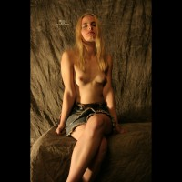 Topless Girl On Rock Ledge - Blonde Hair, Long Hair, Long Legs, Small Tits, Topless