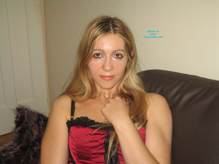 Pic #1 - Stunning Uk Emma In Red Basque , Stunning Emma In A Red Basque On The Sofa