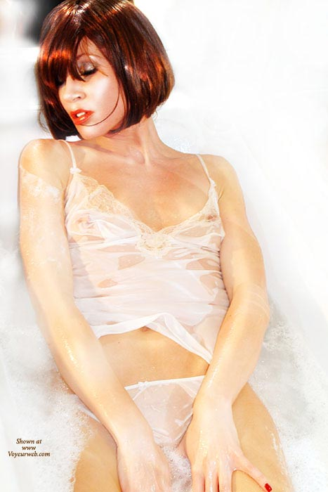 Pic #1 - Wet Lingerie, See Thru Top, Wet And Transparent, White Silk Panties, White Panties, Wet T-shirt, White Camisole, Wet Panties, Wet, Red, Sexy, Peek-a-boo Nipples, White And Sheer, Sheer Ecstasy