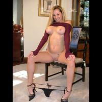 Flashing In Living Room - Chair, Heels, Large Breasts, Shaved Pussy, Sexy Panties