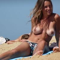 Topless Beach - Big Tits, Brunette Hair, Natural Tits, Tan Lines, Topless Beach, Topless, Beach Tits, Beach Voyeur