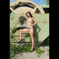 Topless Slim Chick High Heels Standing Old Machinery - Black Hair, Heels, Long Legs, Small Tits, Topless