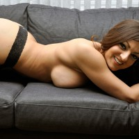 Topless Friend With Hangers On Couch - Big Tits, Brown Hair, Huge Tits, Long Hair, Topless, Sexy Face