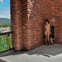 Nude Wife Standing Outdoor - Brunette Hair, Exhibitionist, Flashing, Landing Strip, Nude In Public, Nude Outdoors, Shaved Pussy, Small Tits, Nude Wife