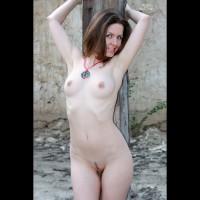 Pale Redhead At Post - Blue Eyes, Landing Strip, Naked Girl