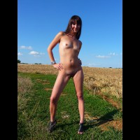 Farmer's Daughter Nude In The Field - Brunette Hair, Small Tits, Bald Pussy, Naked Girl