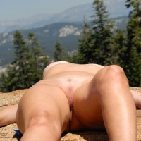 Naked Girl Lying On Rock - Bald Pussy, Hairless Pussy, Sexy Legs