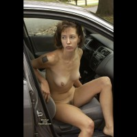 Naked In The Car - Big Nipples, Brown Hair, Exhibitionist, Hairy Bush, Hard Nipple, Tattoo